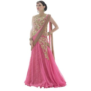 Salwar soul Disigner Party Wear Pink Embroidery Lehenga For Girls