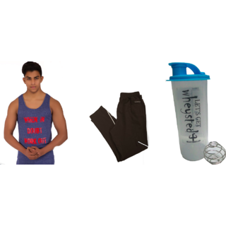 Klothoflex combo of gym shaker, lower and tank top