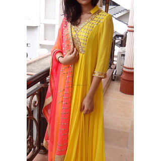 Salwar Soul New Party Wear Yellow  Orange Mirror Work Salwar Suit For Girls