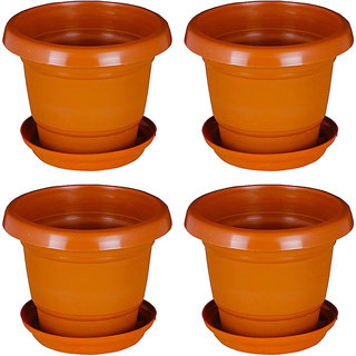 Crete Brown Planter With Plate- Set of 4