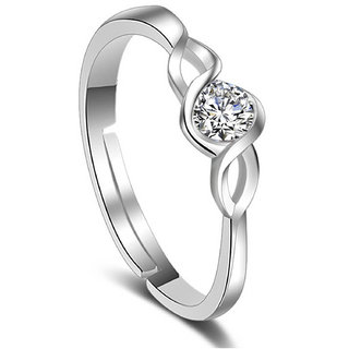Om Jewells Rhodium Plated Adjustable Curvy CZ Solitaire Finger Rings Crafted for Girls and Women FR1000914WHT