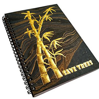 A5 Handmade Notebook, 100 Cotton, 120 GSM ,120 pages, Marbled Paper with gold embossed artistic design
