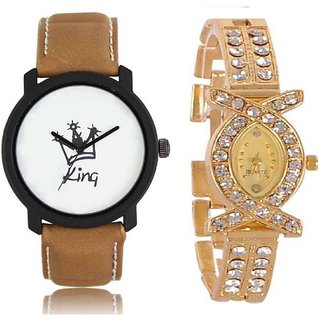 TRUE CHOIE LEATHER BROWN KING AND GOLD QUEEN ANALOG WATCH FOR COUPLE.