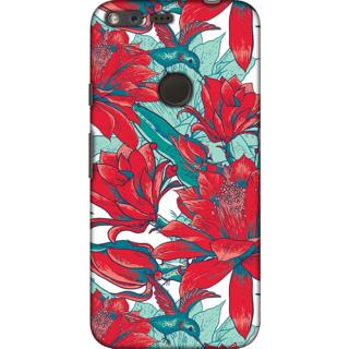 Google Pixel XL, Red Flower Illustration Slim Fit Hard Case Cover/Back Cover For Google Pixel XL