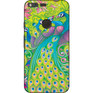 Google Pixel XL, Colorful Peacocks Illustration Slim Fit Hard Case Cover/Back Cover For Google Pixel XL