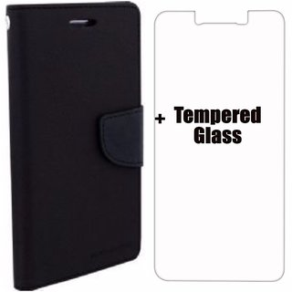 Mercury Diary Wallet Flip Case Cover for RedMi Note 3( Black) Premium Quality + Tempered Glass By Mobimon