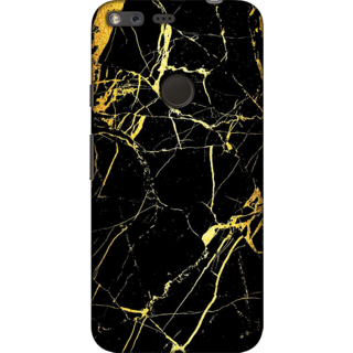Google Pixel XL, Marble Texture Black & Gold1 Slim Fit Hard Case Cover/Back Cover For Google Pixel XL