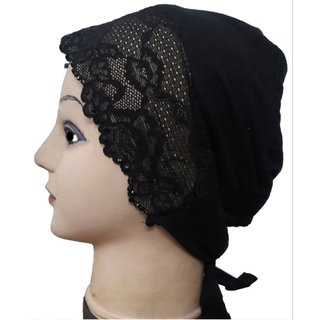 Hijab BLACK LACE RHINESTONE TIE BACK BONNET Cap Abaya Women Hair Hat Ladies Under Scarf Stole Kitchen Pregnancy Head