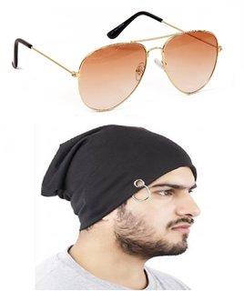 Yuvi Brown Shade Sunglasses  Bennie Cap Pack of 2