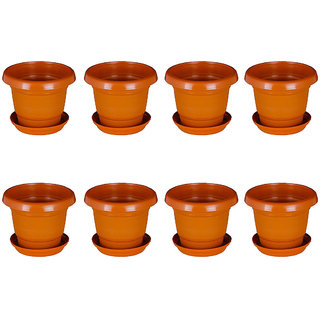 Crete Brown Planter With Plate- Set of 8