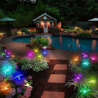 Auto Colour Change Transparent Butterfly Solar Powered Rechargeable LED Garden Light Lamp Auto On Off Waterproof