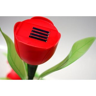 Flower And Leaf Solar Powered Rechargeable LED Lawn Garden Light Lamp Auto On Off Waterproof 4 pics.