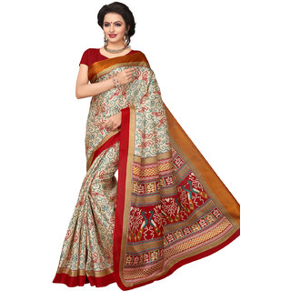 Swaron Women's Beige and Red Colored Printed Bhagalpuri Silk Saree With Unstitched Blouse