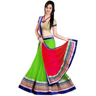 Payal Fashion Womens Un-stitched Lehenga choli Material In Net Fabric (Green)