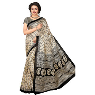 Swaron Women's Beige and Black Colored Printed Bhagalpuri Silk Saree With Unstitched Blouse