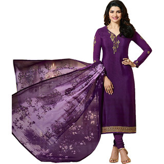 Salwar Suit for women's ( VH FASHION Present Silk Semi-Stitched Anarkali Suit for women's color Top - Purple Bottom - Purple Dupatta - Multi Occasion - party wearoccasion wearfestival wearspecial look Sleeve - Full Neck Style - V neck VHSRC11