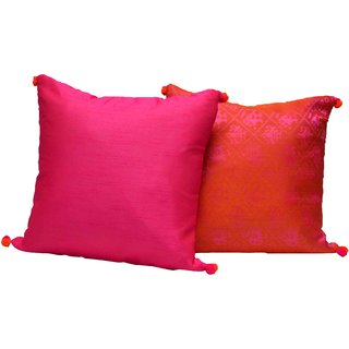 meSleep Pink Full Brocade and Dupioni Silk Cushion Covers-2 pc set