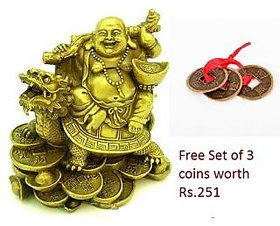 Laughing Buddha Sitting on Dragon Tortoise with free coin