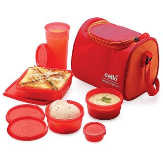 Cello Max Fresh Sling Lunch Box With Bag Red Orange