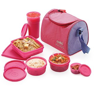 Cello Max Fresh Sling Lunch Box With Bag Pink