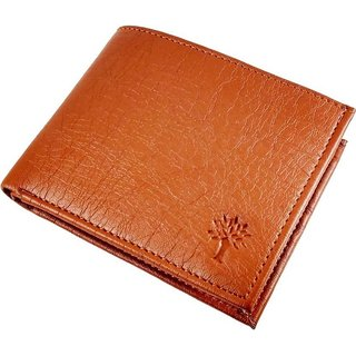 Woodland Tan Leather Bi-fold Wallet For Men (Synthetic leather/Rexine)