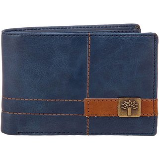 Woodland Men Blue Leather Wallet (6 Card Slots)
