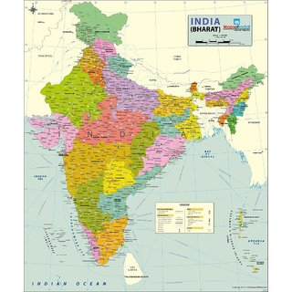 India Map 2017.Buy India Political Map Art Paper 27 55w X 33h Wall Chart 2017