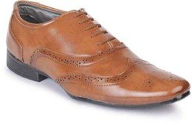00RA Men's Tan Colour Brogue Office Wear Formal Shoes For Men Beige Color Oxford Style