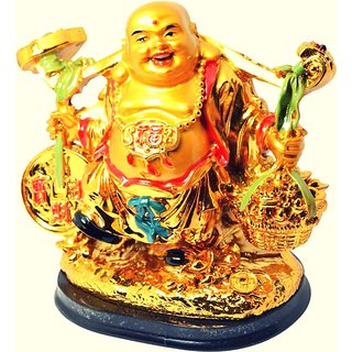 Vastu / Feng Shui / Laughing Buddha With Money Coins For Wealth Success and Achievement Good Luck Prosperity Idol + The First In India Who What When (English Paperback) Showpiece - 12 cm (Ceramic Gold Finish Gold Multicolor)