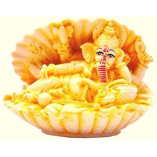 God Ganesha Car Dashboard Decor Statue for Puja and Hindu Idol God Ganesh Ganpati Gift Purpose Showpiece For Home Decoration Office Decoration Showpiece - 12 cm (Polyresin Yellow)