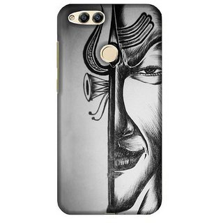 For Huawei Honor 7X grey cloud heart ( grey cloud heart, cloud, black background ) Printed Designer Back Case Cover