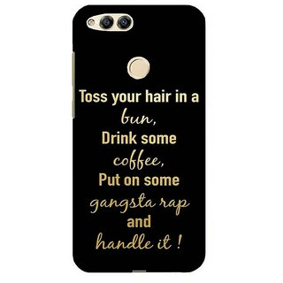 For Huawei Honor 7X choose happiness ( choose happiness, good quotes, black background ) Printed Designer Back Case Cover