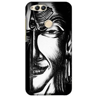 For Huawei Honor 7X white icon ( white icon, icon, city, building, grey ) Printed Designer Back Case Cover