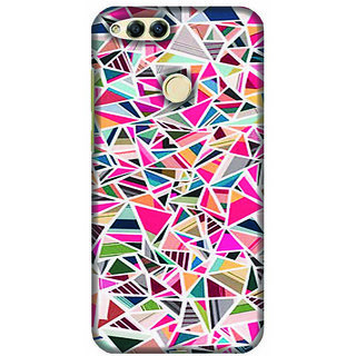For Huawei Honor 7X pink texture heart ( pink texture heart, heart, grey tuxture pattern ) Printed Designer Back Case Cover
