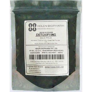 Detoxifying Face Pack (Activated Charcoal  Green Tea Powder with Kaolin , Multani Mitti  Bentonite clay) 125g