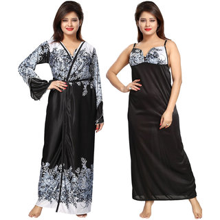Be You Black Satin Printed Women's Nighty with Robe