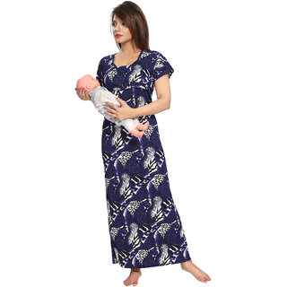 Be You Blue Serena Satin Graphic Print Women's Maternity Gowns