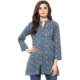 Mytri Women's Blue Cambric kalamkari Printed Straight Kurtis