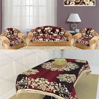 The Intellect Bazaar Chenille 5 Seater Sofa Cover and One Table Cover Combo,Set of 7