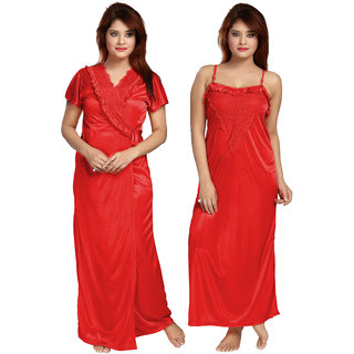 Be You Red Satin Solid Women's Nightwear Set