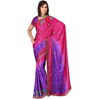 4692b9f43 Buy Indian Professional Ethnic Poly Silk Crepe Rani Color Saree Online -  Get 68% Off