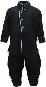 Tumble Full Sleeves Kurta Pajama Set - Black