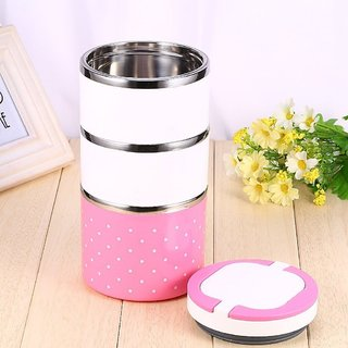 Lovato Stainless Steel Three Layer Office/School Lunch Box 3 Containers Lunch Box 3 Containers Lunch Box (1250 ml) Pink