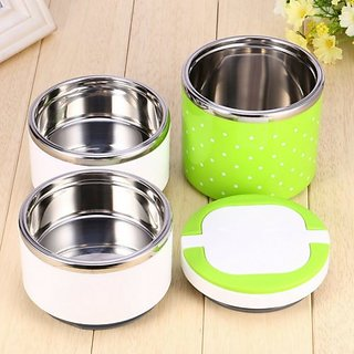 Lovato Stainless Steel Three Layer Office/School Lunch Box 3 Containers Lunch Box 3 Containers Lunch Box (1250 ml) Green