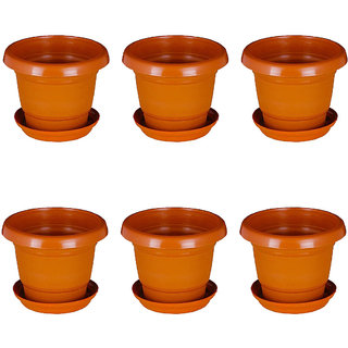 Crete Brown Planter With Plate- Set of 6