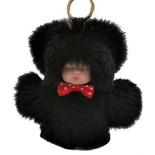 Sleeping baby doll Women Gold KeyRing Pom Pom Rabbit Fur Ball KeyChain Black  Colour 13971b7c7