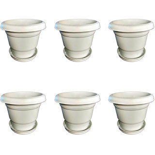 Crete Virgin Plastic Planter With Plate- Set of 6