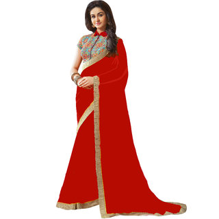 Bhuwal fashion designer georgette sari with embroiderd blouse-BF83RED