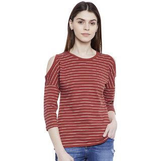 Hypernation Striped Women's Cold Shoulder T-shirt