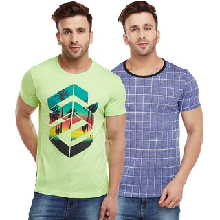Vimal-Jonney Check Blue And Green Graphic  Printed Tshirts For Men(Pack Of 2)